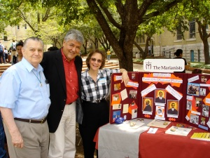 Bro. Leo Willett, Fr. Rudy Vela and Sr. Gretchen Trautman at the Interfaith Fair on the Quad