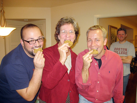 Aspirant Andrew Caruso, Sister Grace Walle and Brother Brian Halderman enjoy home-made oatmeal cookies at the Marianist Sisters Convent.